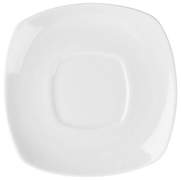 "6"" Bright White Square Porcelain Saucer - 36/Case Main Image 1"