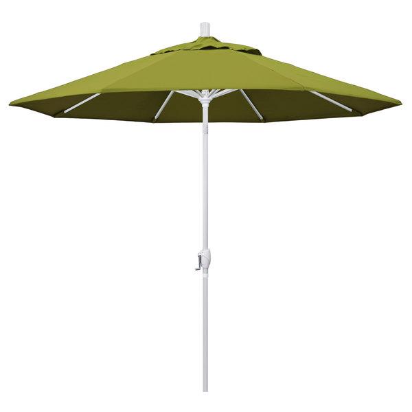 """Ginko Fabric California Umbrella GSPT 908 PACIFICA Pacific Trail 9' Crank Lift Umbrella with 1 1/2"""" Matte White Aluminum Pole"""