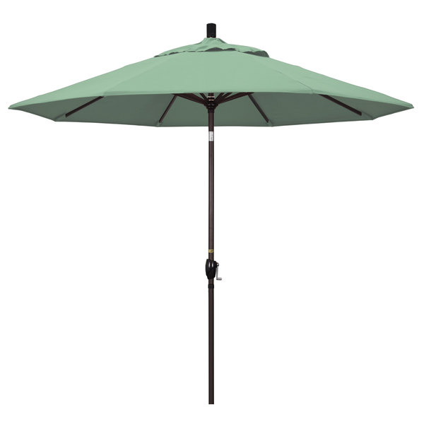 "Spa Fabric California Umbrella GSPT 908 PACIFICA Pacific Trail 9' Crank Lift Umbrella with 1 1/2"" Bronze Aluminum Pole"