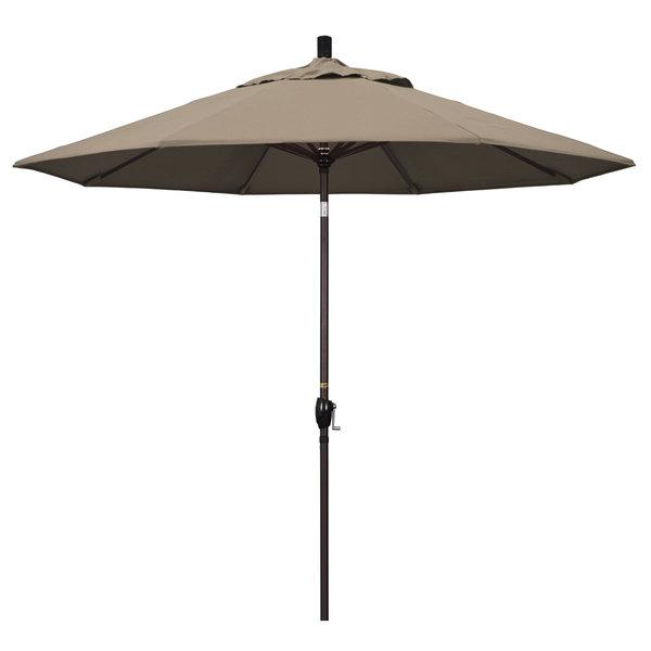 "Taupe Fabric California Umbrella GSPT 908 PACIFICA Pacific Trail 9' Crank Lift Umbrella with 1 1/2"" Bronze Aluminum Pole"
