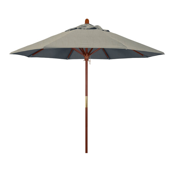 "Spectrum Dove Fabric California Umbrella MARE 908 SUNBRELLA 1A Grove Customizable 9' Round Push Lift Umbrella with 1 1/2"" Hardwood Pole - Sunbrella 1A Canopy"