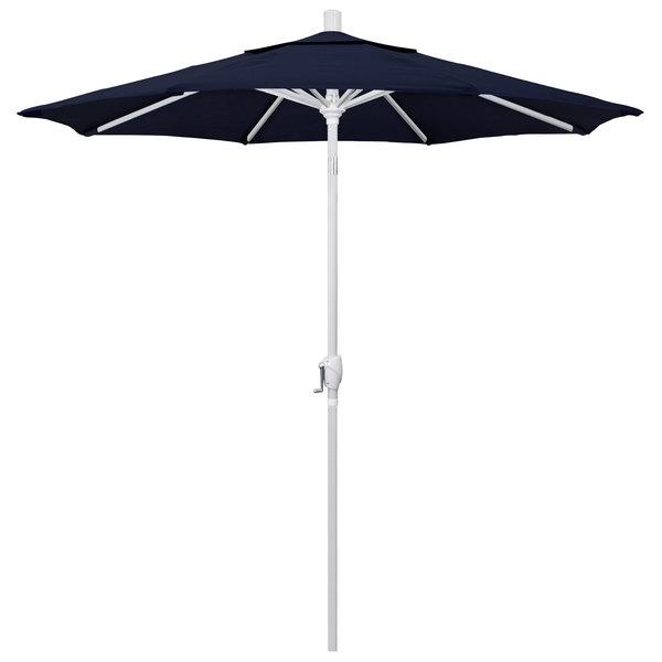 """Navy Fabric California Umbrella GSPT 758 PACIFICA Pacific Trail 7 1/2' Crank Lift Umbrella with 1 1/2"""" Matte White Aluminum Pole"""