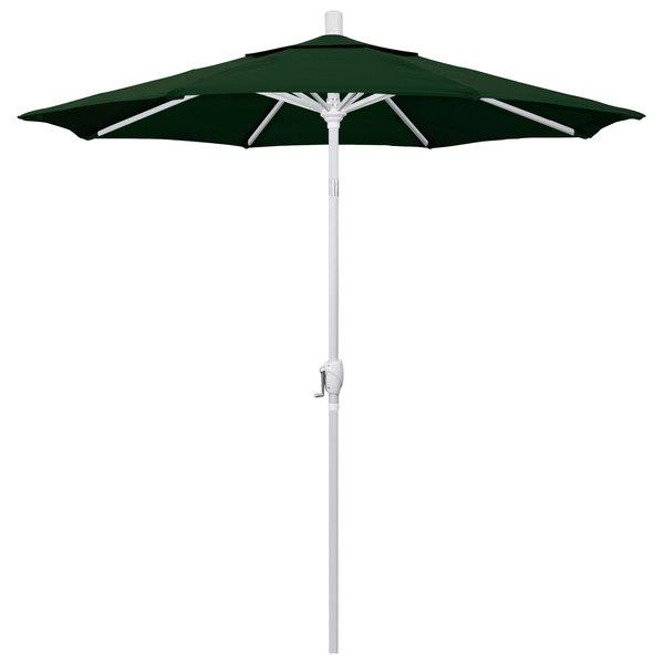 """Hunter Green Fabric California Umbrella GSPT 758 PACIFICA Pacific Trail 7 1/2' Crank Lift Umbrella with 1 1/2"""" Matte White Aluminum Pole"""