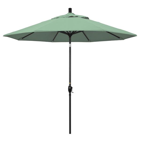 """Spa Fabric California Umbrella GSPT 908 PACIFICA Pacific Trail 9' Crank Lift Umbrella with 1 1/2"""" Stone Black Aluminum Pole"""