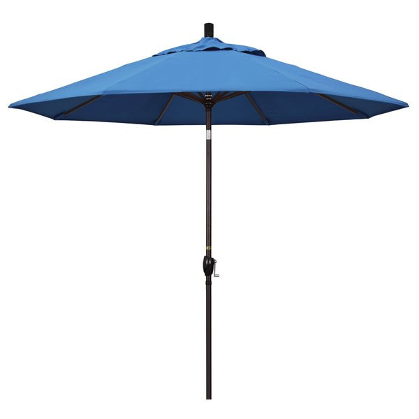 "Capri Fabric California Umbrella GSPT 908 PACIFICA Pacific Trail 9' Crank Lift Umbrella with 1 1/2"" Bronze Aluminum Pole"