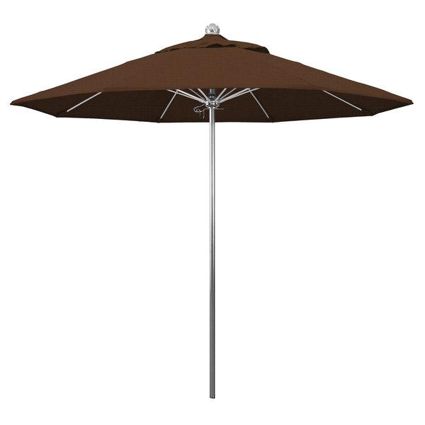 "Teak Fabric California Umbrella LUXY 908 OLEFIN Allure 9' Round Push Lift Umbrella with 1 1/2"" Stainless Steel Pole - Olefin Canopy"