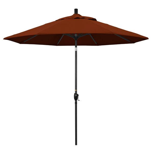 "Brick Fabric California Umbrella GSPT 908 PACIFICA Pacific Trail 9' Crank Lift Umbrella with 1 1/2"" Stone Black Aluminum Pole"