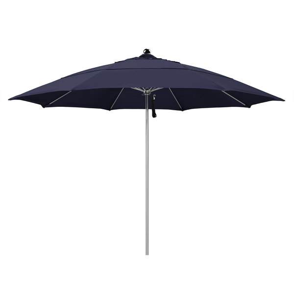 """Navy Fabric California Umbrella LUXY 118 OLEFIN Allure 11' Round Pulley Lift Umbrella with 1 1/2"""" Stainless Steel Pole - Olefin Canopy"""