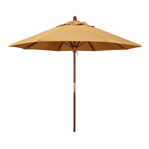 "Wheat Fabric California Umbrella MARE 908 SUNBRELLA 1A Grove Customizable 9' Round Push Lift Umbrella with 1 1/2"" Hardwood Pole - Sunbrella 1A Canopy"