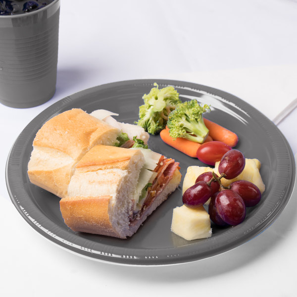 """Creative Converting 339659 10"""" Glamour Gray Plastic Plate - 20/Pack Main Image 3"""