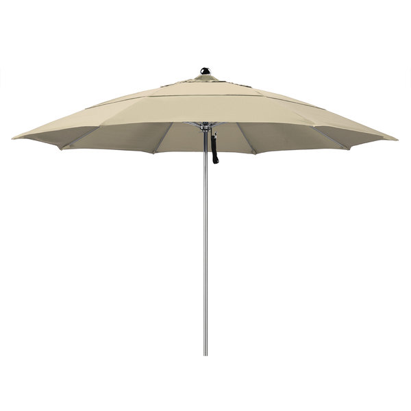 """Beige Fabric California Umbrella LUXY 118 PACIFICA Allure 11' Round Pulley Lift Umbrella with 1 1/2"""" Stainless Steel Pole - Pacifica Canopy"""