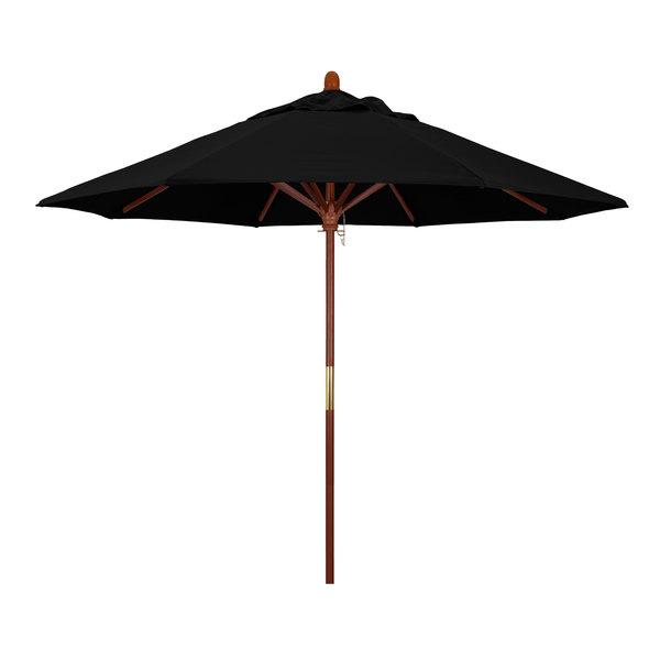 "Black Fabric California Umbrella MARE 908 SUNBRELLA 1A Grove Customizable 9' Round Push Lift Umbrella with 1 1/2"" Hardwood Pole - Sunbrella 1A Canopy"
