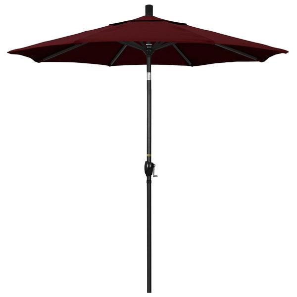 "Burgundy Fabric California Umbrella GSPT 758 PACIFICA Pacific Trail 7 1/2' Crank Lift Umbrella with 1 1/2"" Stone Black Aluminum Pole"