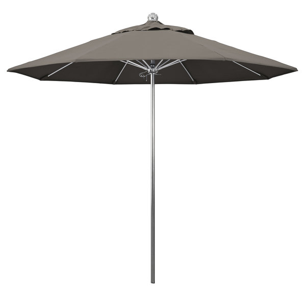 """Taupe Fabric California Umbrella LUXY 908 PACIFICA Allure 9' Round Push Lift Umbrella with 1 1/2"""" Stainless Steel Pole - Pacifica Canopy"""