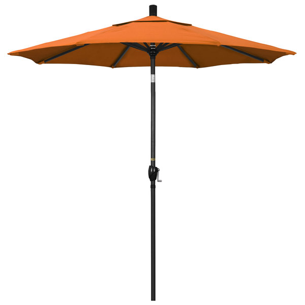 "Tuscan Fabric California Umbrella GSPT 758 PACIFICA Pacific Trail 7 1/2' Crank Lift Umbrella with 1 1/2"" Stone Black Aluminum Pole"