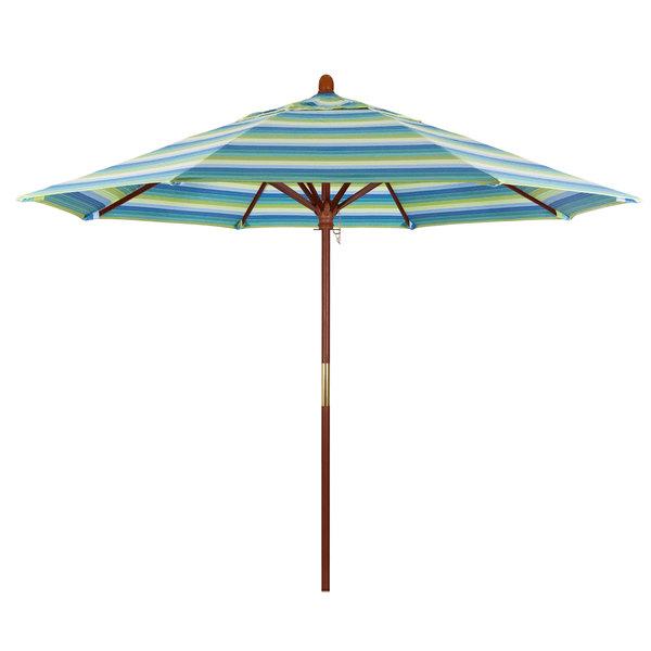 "Dolce Oasis Fabric California Umbrella MARE 908 SUNBRELLA 1A Grove Customizable 9' Round Push Lift Umbrella with 1 1/2"" Hardwood Pole - Sunbrella 1A Canopy"