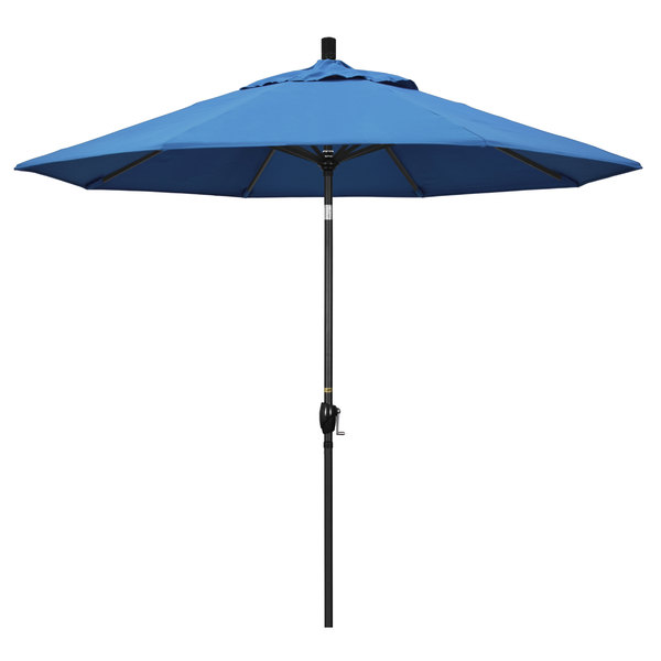 "Capri Fabric California Umbrella GSPT 908 PACIFICA Pacific Trail 9' Crank Lift Umbrella with 1 1/2"" Stone Black Aluminum Pole"