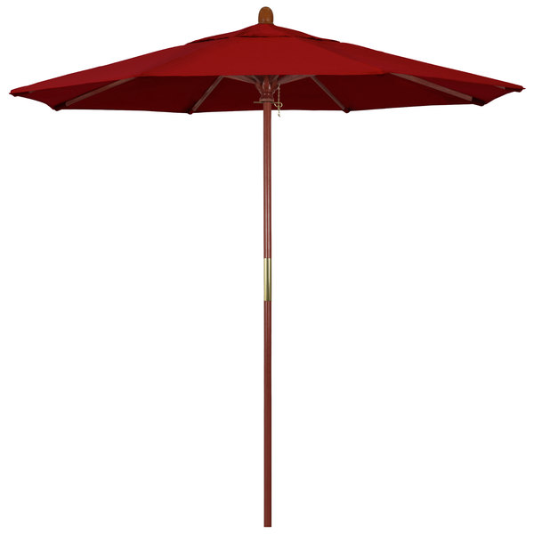 "Jockey Red Fabric California Umbrella MARE 758 PACIFICA Grove 7 1/2' Round Push Lift Umbrella with 1 1/2"" Hardwood Pole - Pacifica Canopy"