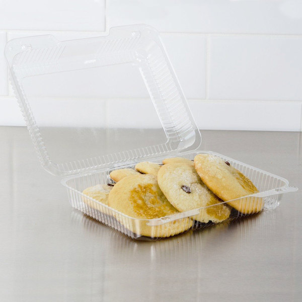 """Dart C57UT1 StayLock 10 1/2"""" x 8 1/4"""" x 2 7/8"""" Clear Hinged Plastic 10 1/2"""" Oblong Container - 250/Case"""