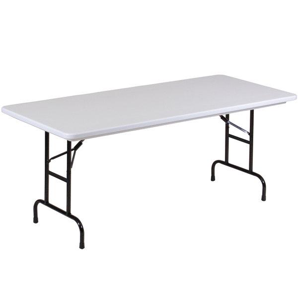 "Correll Adjustable Height Folding Table, 30"" x 72"" Plastic, Granite Gray - Standard Legs - R-Series RA3072"