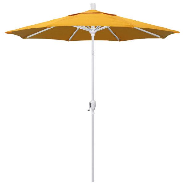 """Yellow Fabric California Umbrella GSPT 758 PACIFICA Pacific Trail 7 1/2' Crank Lift Umbrella with 1 1/2"""" Matte White Aluminum Pole"""