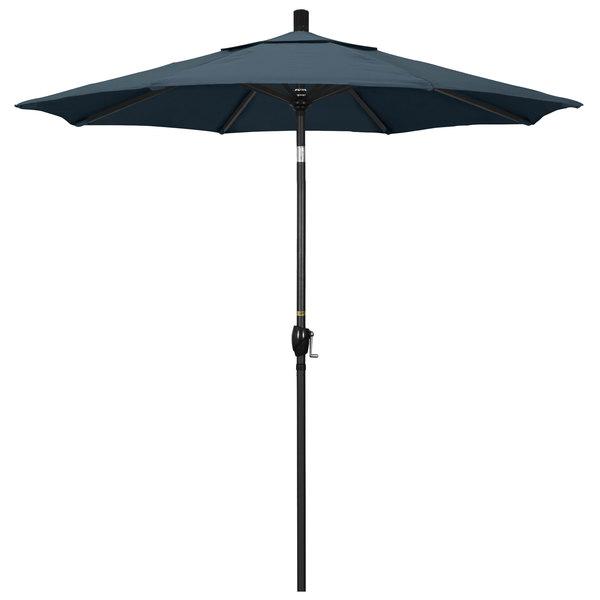 """Sapphire Blue Fabric California Umbrella GSPT 758 PACIFICA Pacific Trail 7 1/2' Crank Lift Umbrella with 1 1/2"""" Stone Black Aluminum Pole"""