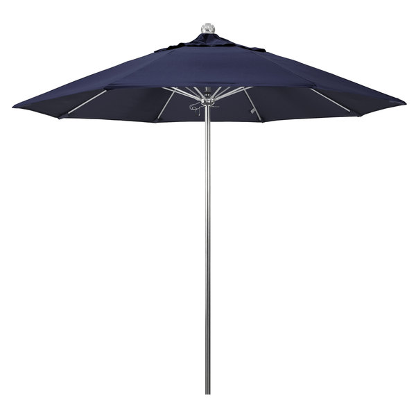"Navy Fabric California Umbrella LUXY 908 OLEFIN Allure 9' Round Push Lift Umbrella with 1 1/2"" Stainless Steel Pole - Olefin Canopy"