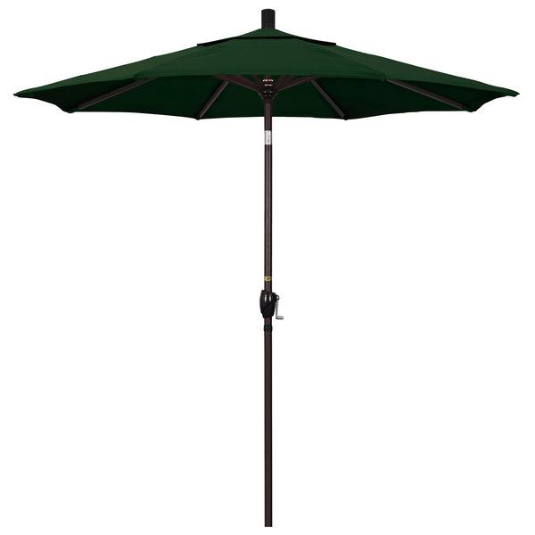 "Hunter Green Fabric California Umbrella GSPT 758 PACIFICA Pacific Trail 7 1/2' Crank Lift Umbrella with 1 1/2"" Bronze Aluminum Pole"