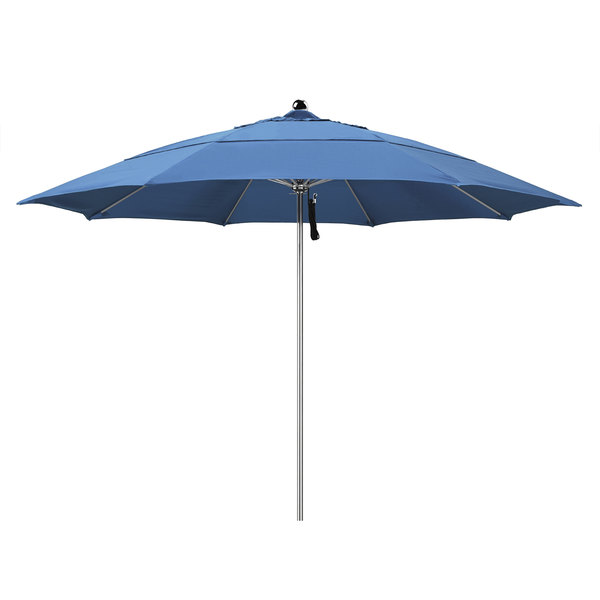 """Frost Blue Fabric California Umbrella LUXY 118 OLEFIN Allure 11' Round Pulley Lift Umbrella with 1 1/2"""" Stainless Steel Pole - Olefin Canopy"""