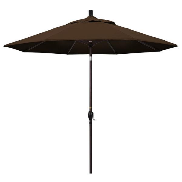 "Mocha Fabric California Umbrella GSPT 908 PACIFICA Pacific Trail 9' Crank Lift Umbrella with 1 1/2"" Bronze Aluminum Pole"