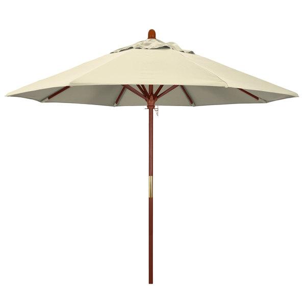 "Beige Fabric California Umbrella MARE 908 OLEFIN Grove 9' Round Push Lift Umbrella with 1 1/2"" Hardwood Pole - Olefin Canopy"