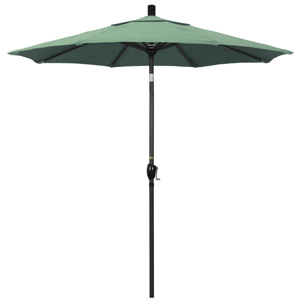 "Spa Fabric California Umbrella GSPT 758 PACIFICA Pacific Trail 7 1/2' Crank Lift Umbrella with 1 1/2"" Stone Black Aluminum Pole"