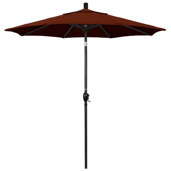 "Brick Fabric California Umbrella GSPT 758 PACIFICA Pacific Trail 7 1/2' Crank Lift Umbrella with 1 1/2"" Stone Black Aluminum Pole"