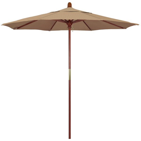 "Terrace Sequoia Fabric California Umbrella MARE 758 OLEFIN Grove 7 1/2' Round Push Lift Umbrella with 1 1/2"" Hardwood Pole - Olefin Canopy"