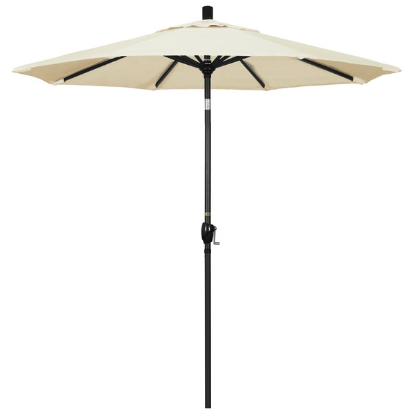 "Canvas Fabric California Umbrella GSPT 758 PACIFICA Pacific Trail 7 1/2' Crank Lift Umbrella with 1 1/2"" Stone Black Aluminum Pole"
