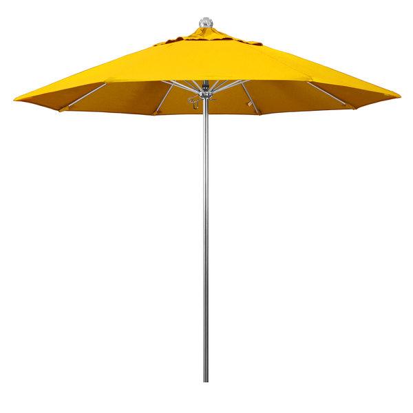 "Sunflower Yellow Fabric California Umbrella LUXY 908 SUNBRELLA 1A Allure 9' Round Push Lift Umbrella with 1 1/2"" Stainless Steel Pole - Sunbrella 1A Canopy"