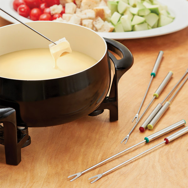 """9 1/2"""" Stainless Steel Fondue Forks with Color Coded Handles - 12/Pack Main Image 2"""
