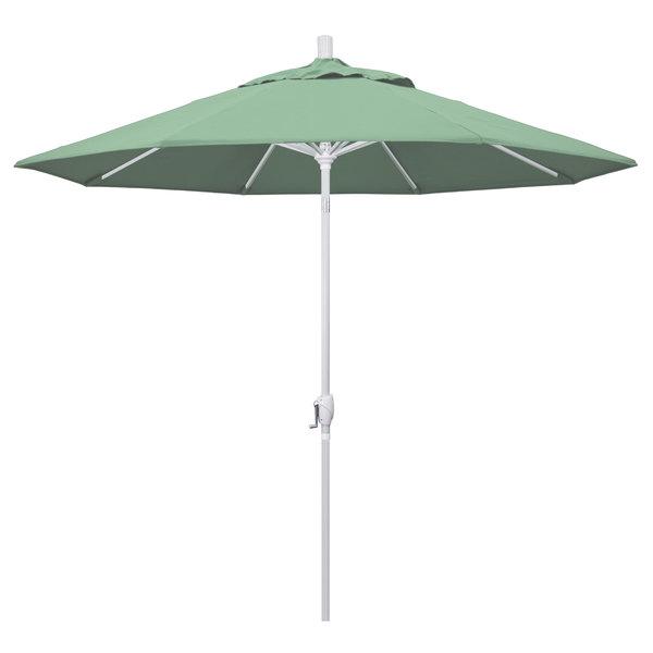 """Spa Fabric California Umbrella GSPT 908 PACIFICA Pacific Trail 9' Crank Lift Umbrella with 1 1/2"""" Matte White Aluminum Pole"""