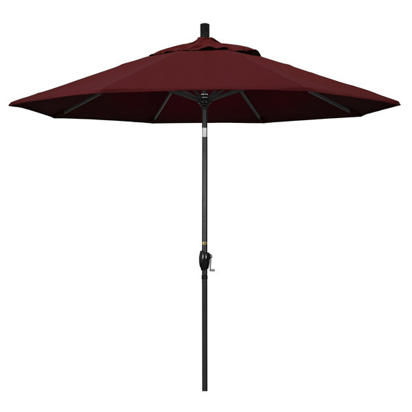"Burgundy Fabric California Umbrella GSPT 908 PACIFICA Pacific Trail 9' Crank Lift Umbrella with 1 1/2"" Stone Black Aluminum Pole"