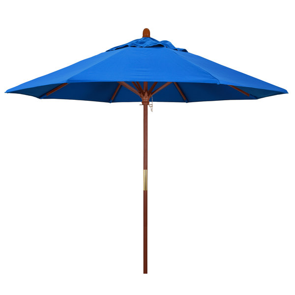 "Royal Blue Fabric California Umbrella MARE 908 OLEFIN Grove 9' Round Push Lift Umbrella with 1 1/2"" Hardwood Pole - Olefin Canopy"