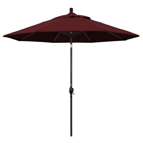 "Burgundy Fabric California Umbrella GSPT 908 PACIFICA Pacific Trail 9' Crank Lift Umbrella with 1 1/2"" Bronze Aluminum Pole"