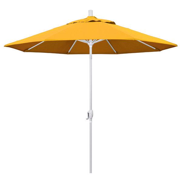 """Yellow Fabric California Umbrella GSPT 908 PACIFICA Pacific Trail 9' Crank Lift Umbrella with 1 1/2"""" Matte White Aluminum Pole"""