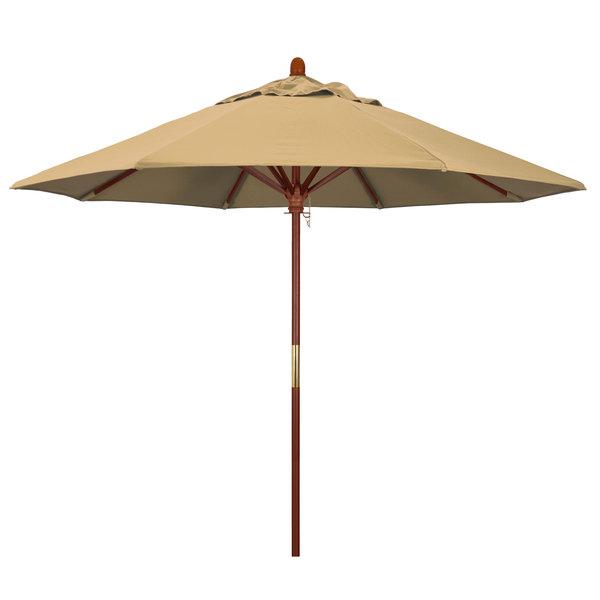 "Champagne Fabric California Umbrella MARE 908 OLEFIN Grove 9' Round Push Lift Umbrella with 1 1/2"" Hardwood Pole - Olefin Canopy"