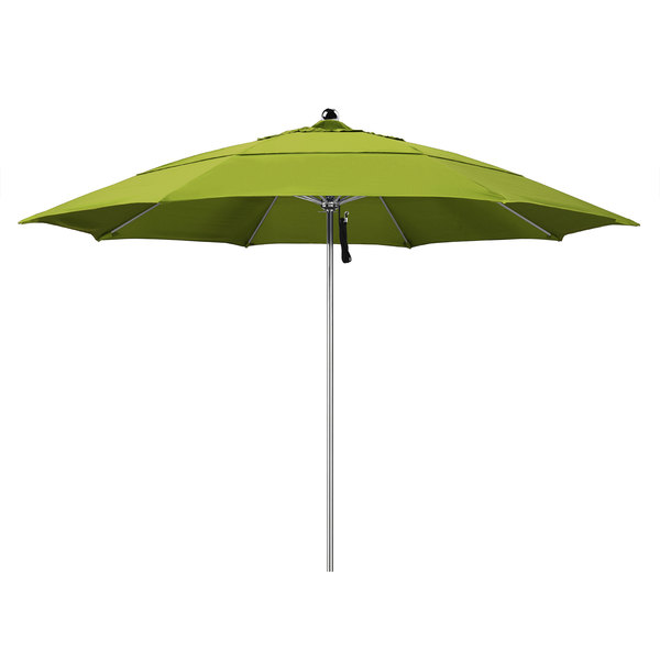 "Ginko Fabric California Umbrella LUXY 118 PACIFICA Allure 11' Round Pulley Lift Umbrella with 1 1/2"" Stainless Steel Pole - Pacifica Canopy"
