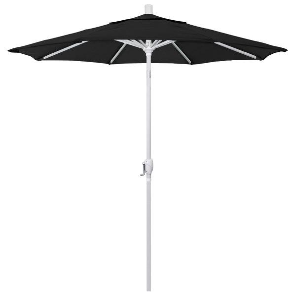 """Black Fabric California Umbrella GSPT 758 PACIFICA Pacific Trail 7 1/2' Crank Lift Umbrella with 1 1/2"""" Matte White Aluminum Pole"""