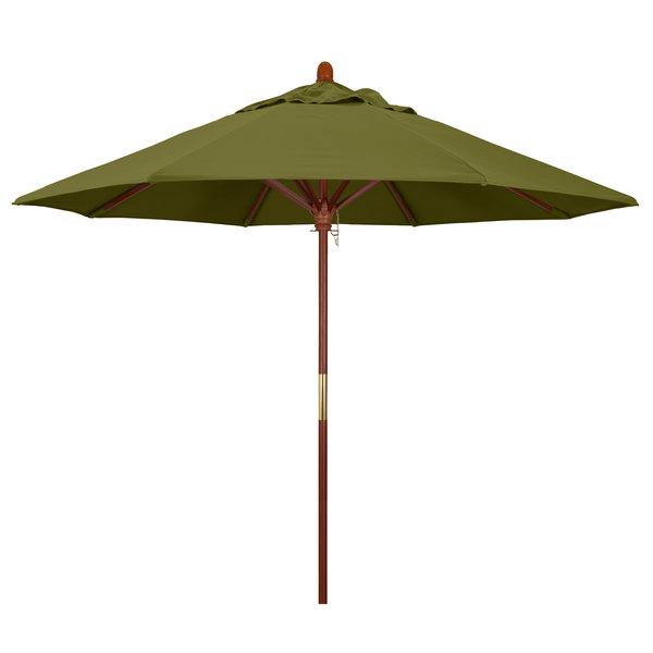 "Palm Fabric California Umbrella MARE 908 PACIFICA Grove 9' Round Push Lift Umbrella with 1 1/2"" Hardwood Pole - Pacifica Canopy"