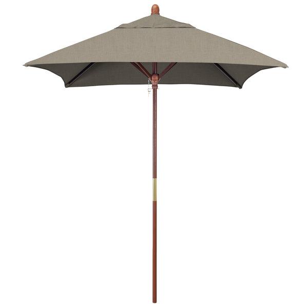 "Spectrum Dove Fabric California Umbrella MARE 604 SUNBRELLA 1A Grove 6' Square Push Lift Umbrella with 1 1/2"" Hardwood Pole - Sunbrella 1A Canopy"