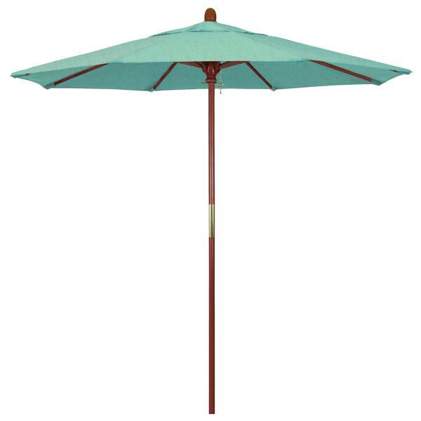 "Spectrum Mist Fabric California Umbrella MARE 758 SUNBRELLA 1A Grove 7 1/2' Round Push Lift Umbrella with 1 1/2"" Hardwood Pole - Sunbrella 1A Canopy"