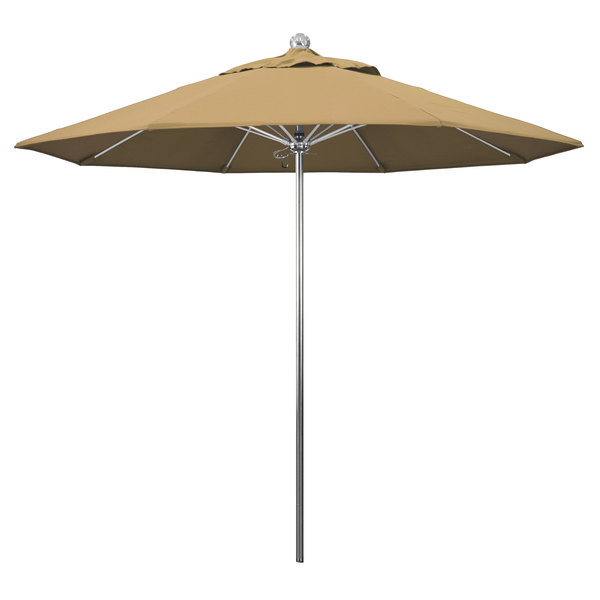 "Champagne Fabric California Umbrella LUXY 908 OLEFIN Allure 9' Round Push Lift Umbrella with 1 1/2"" Stainless Steel Pole - Olefin Canopy"