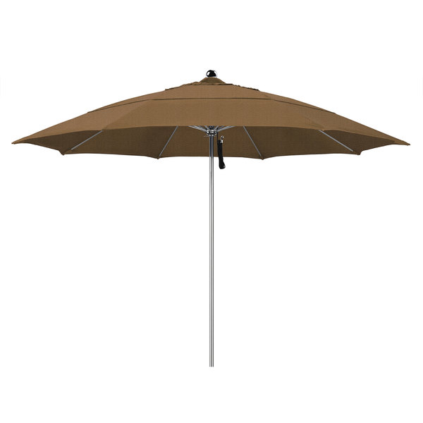 "Woven Sesame Fabric California Umbrella LUXY 118 OLEFIN Allure 11' Round Pulley Lift Umbrella with 1 1/2"" Stainless Steel Pole - Olefin Canopy"